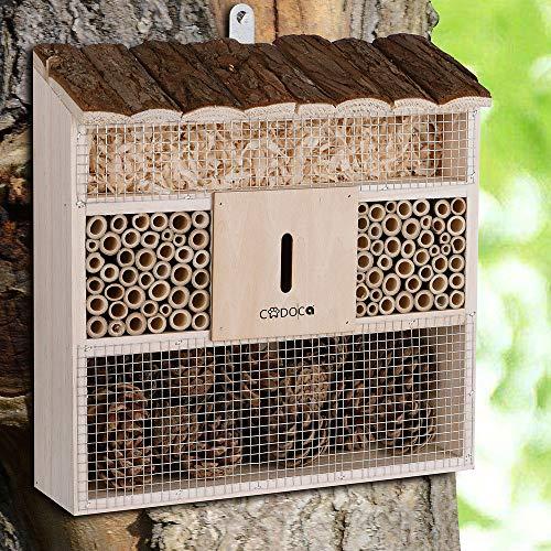 CADOCA Insektenhotel 'Bug's Inn' aus Holz zum Aufhängen Insektenhaus Bienenhotel Brutkasten Natur Schmetterlinge Nistkasten