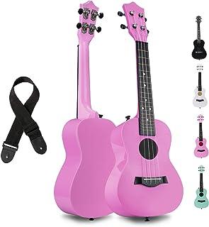 قيثارة الحفل FUYXAN مع ملحقات حزام من النايلون ، 23 بوصة الوردي القيثارة للطلاب المبتدئين ، آلة موسيقية Hawaiian Guitar St...