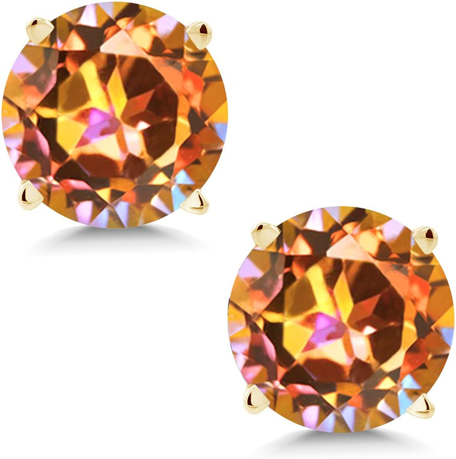 2.00 Ct Round 6mm Ecstasy Mystic Topaz 14K Yellow gold Stud Earrings