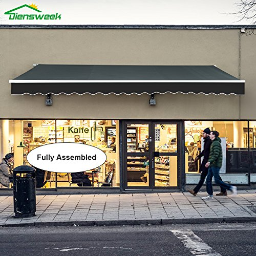 Diensweek 10'x7' 100% Acrylic Outdoor Patio Awning Retractable Manual Commercial Grade - Quality Window Sunshade,Deck Canopy Balcony M100 Series,2 Years Warranty (10'x7',Dark Grey, Manual)