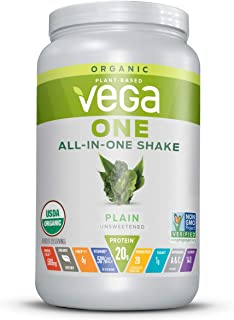 Vega One Organic Meal Replacement Plant Based Protein Powder, Unflavored - Vegan, Vegetarian, Gluten Free, Dairy Free with...