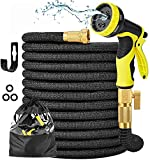 """Expandable Garden Hose 100ft Expanding Flexible Water Hose with 9 Function Spray Nozzle, 3/4"""" Solid Brass Connector, Extra Strength 2700D Fabric, Retractable Yard Garden Hose for Watering & Washing"""