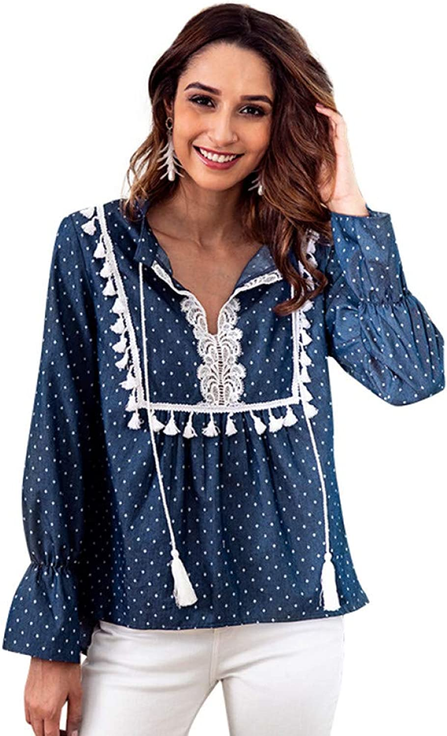 STYQLM Blouses Shirts Women Denim Blouse Dot Print Drawstring Lace Tassel V Neck Long Sleeve Casual Loose Boho