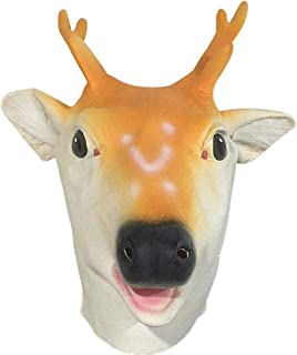 HESANYU AU Deer Head Headdress mask Performance Props Halloween Costume Party ( Color : Yellow , Size : One Size )