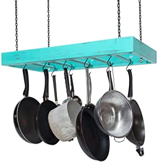 Hanging Pot Rack - Wooden - Ceiling Mounted - Rectangular - Large - Black Hardware - Aqua on Dark Finish - Hang Kitchen Pots and Pans