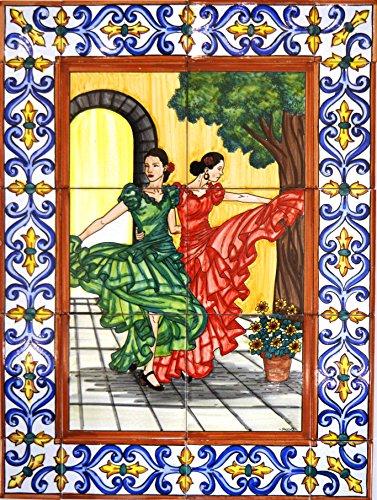 ART ESCUDELLERS Mural Flamenco/SEVILLANAS con Cenefa de cerámica Pintado a Mano. 45 cm x 60 cm.