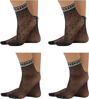 – PACK 4 PARES Calcetines de Mujer, Mini Medias Negras y con Lunares | Negro | Talla Unica | 20 DEN | MADE IN ITALY |
