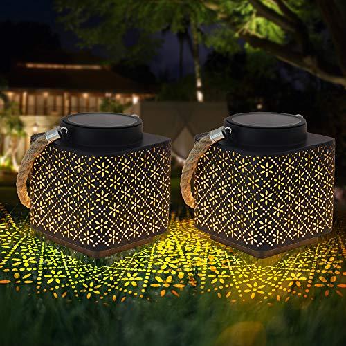 Farolillos Solares Exterior Luces de Linterna Solar, LED Luz Colgante Solar IP65 Impermeable Lámpara Jardín al Aire Libre Lámpara...