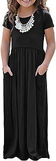 Girls Short Sleeve Stripe Dress Summer Long Maxi Dress with Pocket