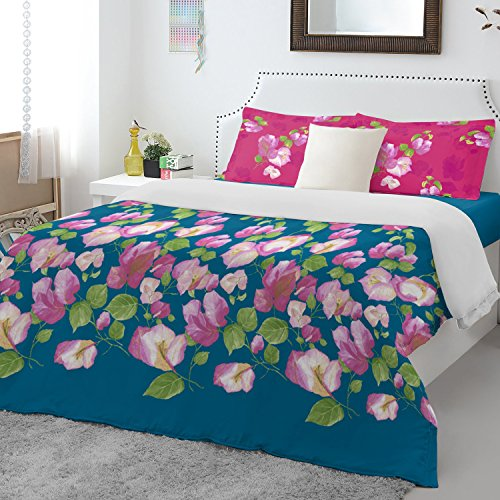 Spaces Atrium Plus 200 TC Cotton Double Bedsheet with 2 Pillow Covers - Turquoise Blue