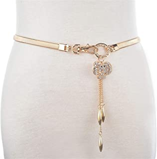 MYCHOMEUU New Metal Spring Waist Chain Diamond Pendant Waistband Female Fox Accessories Skirt Chain Sweater Waist Chain Female (Color : Golden, Size : 62cm)