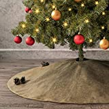Ivenf Christmas Tree Skirt, 48 inches Large Burlap Double-Layer Plain Skirt, Rustic Xmas Tree Holiday Decorations