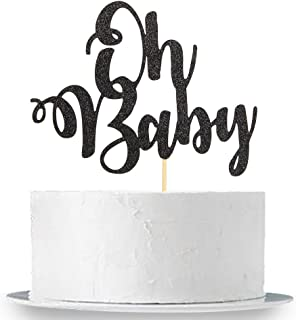 Black Glitter Oh Baby Cake Topper - Baby Shower Party Decoration Supplies for Boy and Girl