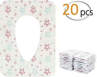 Biubee 20 pcs Disposable Potty Seat Cover - Large Size Travel Toilet Seat Cover with Adhesive No Slip(Star)