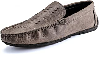 Ranipobo Lightweight Driving LoaferHand Sewing Vamp Slipper Microfiber Leather for Men (Color : Gray, Size : 7.5 UK)