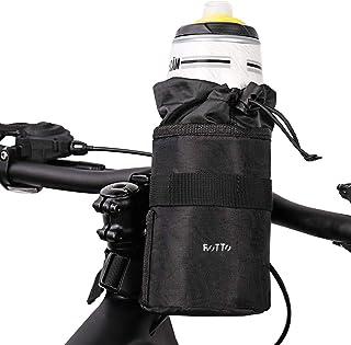 ROTTO ステムサイドポーチ 自転車 ステムバッグ ドリンクホルダー 保冷 保温 小物入れ 収納便利 ブラック