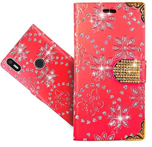 FoneExpert® BQ Aquaris X5 Plus Handy Tasche, Bling Diamant Wallet Hülle Flip Cover Hüllen Etui Hülle Ledertasche Lederhülle Schutzhülle Für BQ Aquaris X5 Plus