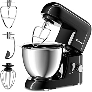 COSTWAY Stand Mixer 4.3 Quart 6-Speed 120V/550W Kitchenaid 3 Attachments Offer Tilt-head Electric Food Mixer w/Stainless Steel Bowl (Painted-Black)