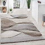 Paco Home Teppich Meliert Webteppich Hochwertig Wellen Optik Meliert Grau Beige Creme, Grösse:80x150 cm