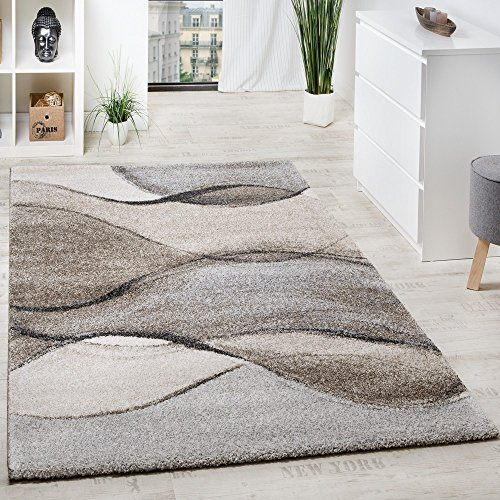 Paco Home Teppich Meliert Webteppich Hochwertig Wellen Optik Meliert Grau Beige Creme, Grösse:160x230 cm