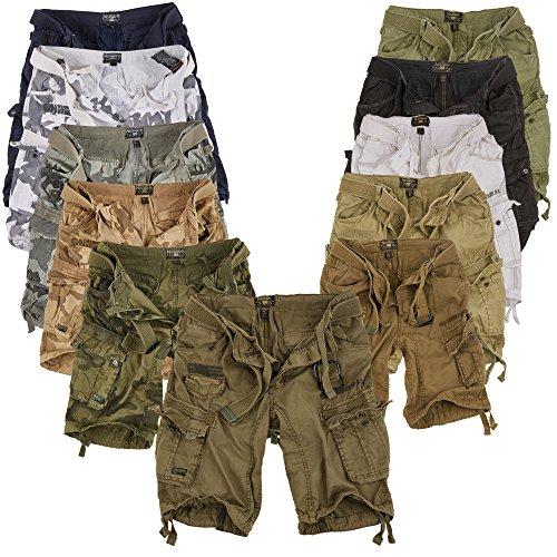Geographical Norway Cortos Cargo Pantalones Cortos Bermudas con Cinturón Pantalones Cortos Hunter en el Bundle con UD PAÑUELO - Black Camuflaje, XXL