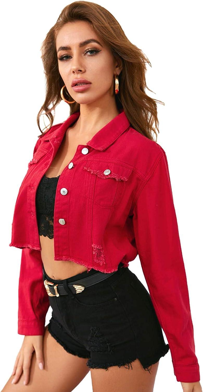 Floerns Women's Casual Ripped Frayed Hem Long Sleeve Denim Jacket