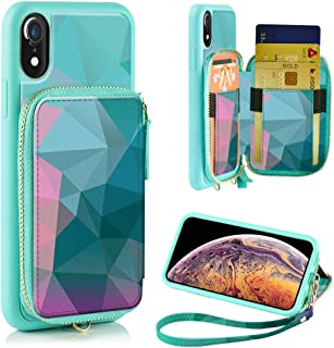 ZVE iPhone XR Wallet Case iPhone XR Case with Credit Card Holder Slot Leather Wallet Zipper Pocket Purse Handbag Wrist Strap Print Case for Apple iPhone XR 6.1 inch 2018, Diamond