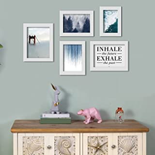 Inhale - Exhale Set of 5 White Art Print, Painting for Home Décor, Paintings with Frame for Living Room Size- 4x6 , 5x7 , ...