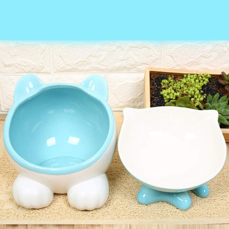 GAELLE Cat Bowl Oblique Mouth Flat Face Cat Bowl Cat Food Bowl Ceramic Pet High Bowl Cat Rice Bowl Cute Water Bowl (color   bluee, Size   C)
