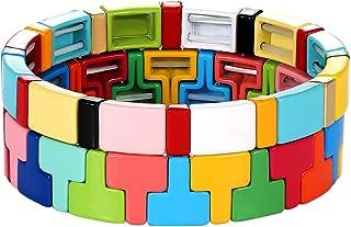 PHALIN Enamel Tile Bracelets Colorful Tile Bead Stretch Bracelet for Women Elastic T Letter Shape Colorblock Bangle Bracel...