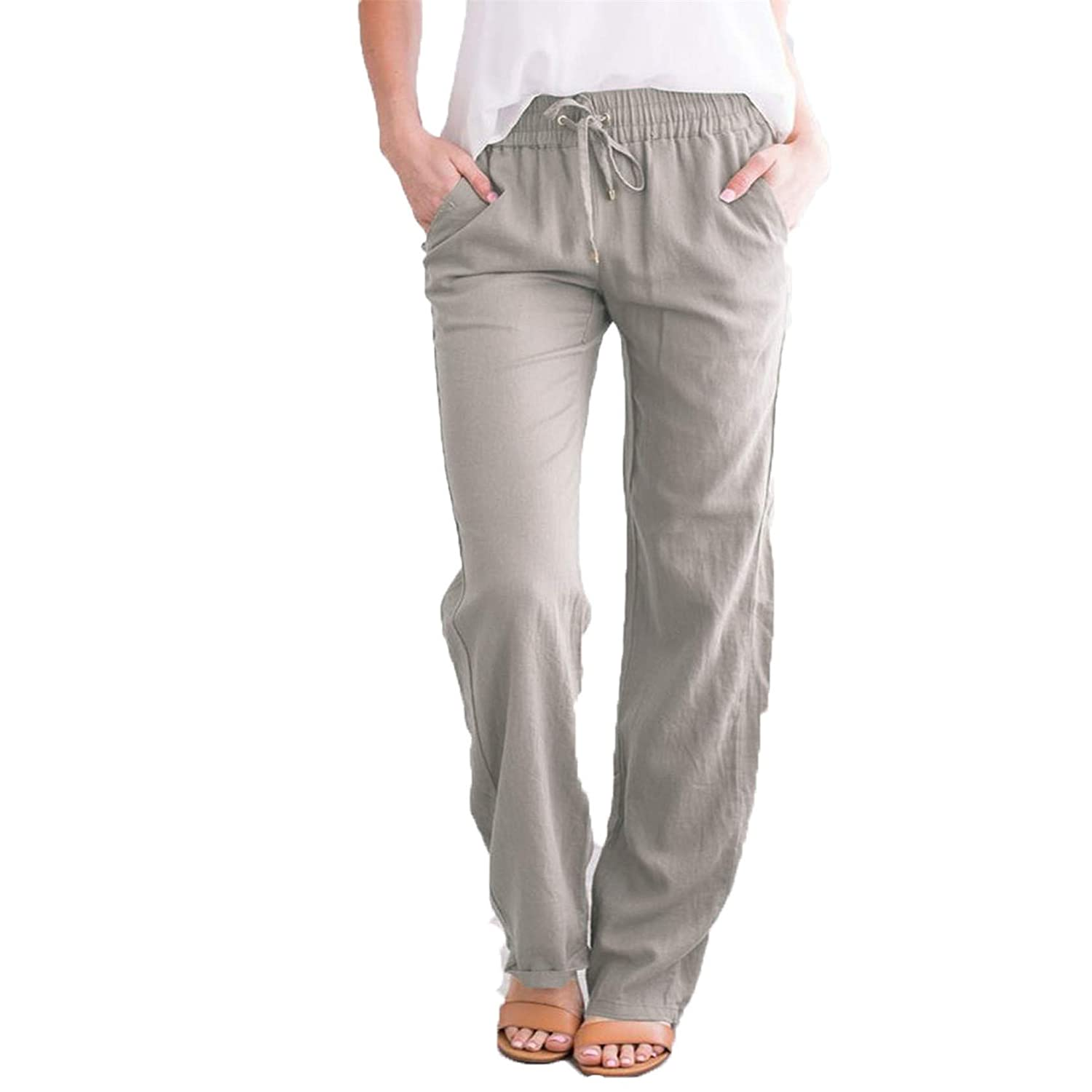 Women Solid Linen Pants Drawstring Elastic Waist Pant Casual Pants Summer Beach Trousers with Pockets (XX-Large,Light grey)