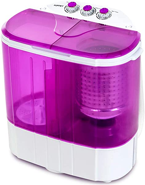 Portable Washing Machine Kuppet 10lbs Compact Mini Washer Wash Spin Twin Tub Durable Design To Wash All Your Laundry Or Swim Suit For Apartments Dorms RV Camping Purple