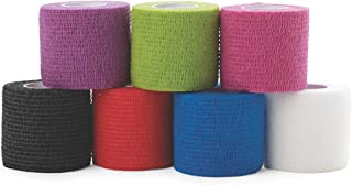 Medline Caring Self-Adherent Cohesive Wrap Bandage,  Non-Sterile,  Latex-Free,  Assorted Color Pack,  2 x 5 yd (Case of 36)