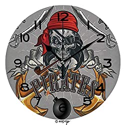 ALUONI Print Round Wall Clock, 10 Inch Jolly Roger Pirate Skull Quiet Desk Clock for Home,Office,School SW105023