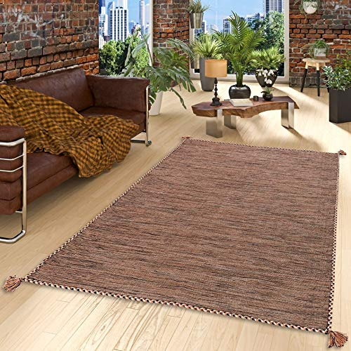 Prico - Tapis Kilim Naturel - Brun - 8 Tailles Disponibles