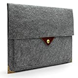 Lavievert Gray Felt Case Bag Sleeve with Authentic Triangle Leather Flap and Copper Metal Corner for Apple 13' MacBook Air/MacBook Pro/MacBook Pro with Retina and Most Popular 13-13.3 Inch Laptops