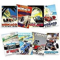 Monaco Grand Prix Classic Racing Motor Sport Advert MIxed Home Decor Premium Wall Art Poster Pack of 8 モナコグランドクラシックレーシングモータースポーツ広告ホームデコ壁ポスター