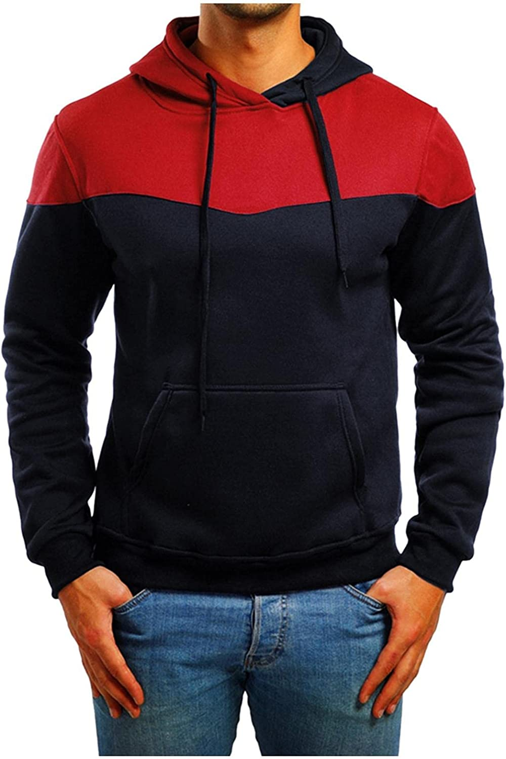 Men's Fashion Novelty Color Block Pullover Hoodie Shirts Long Sleeve Casual Sweatshirt with Pocket Sport Top