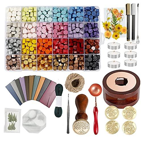 RoseFlower Kit di Timbro Ceralacca, Vintage Sigillo Ceralacca Perline Kit Sigillo di Cera Teste In Ottone per Inviti di Nozze Regalo Avvolgimento Busta Affrancatura Lettera sigillare Buste#-4