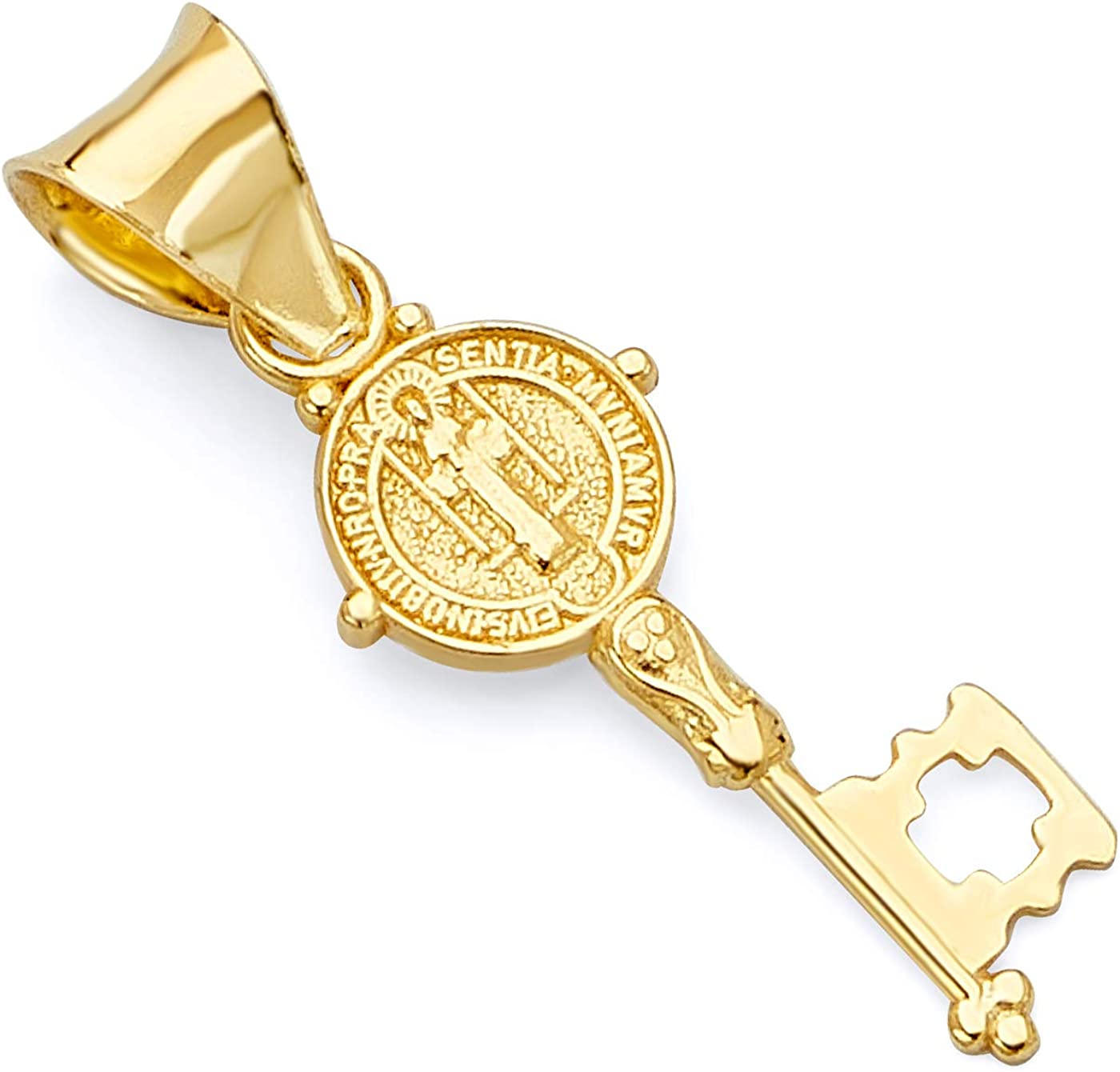 TWJC 14k REAL Yellow Gold Religious Benito Large-scale sale Colorado Springs Mall Penda Charm Key Saint