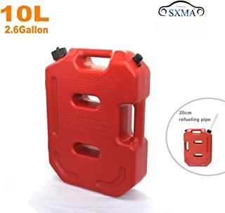 SXMA 10L Fuel Tank Cans Spare 2.6 Gallon Portable Fuel Oil Petrol Diesel Storage Gas Tank Emergency Backup (Pack of 1) Red