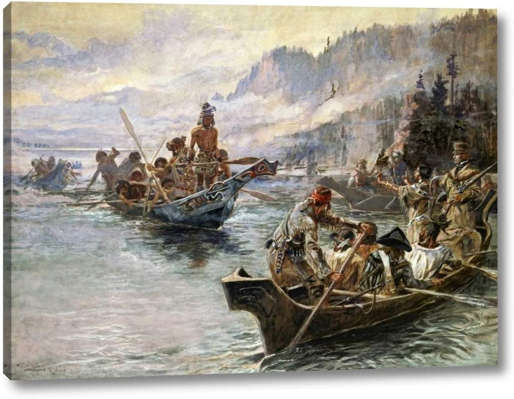 Lewis and Clark 販売実績No.1 on The Lower Columbia 23 Charles by Russell - 特価キャンペーン M.