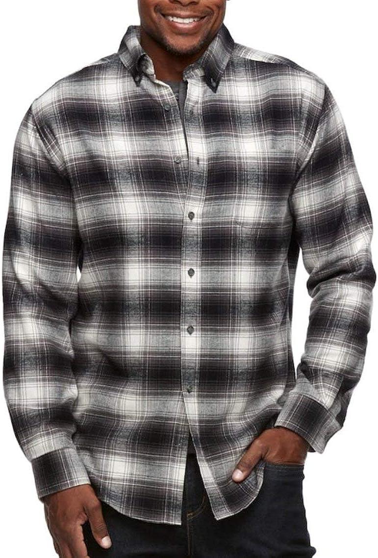 Croft & Barrow Mens Classic Fit Flannel Shirt Grey Gray Plaid
