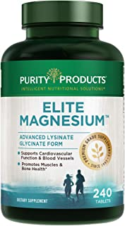 Elite Magnesium - Advanced Lysinate Glycinate Form - TRAACS Patented and Chelated from Purity Products and Dr. Ken Redcross - Highly Bioavailable - 240 Tablets