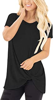 SEBOWEL Women's Twist Knot Casual Crewneck Short Sleeve T Shirts Tees Tunic Top