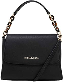 Sofia Small East West Saffiano Leather Satchel Crossbody Bag