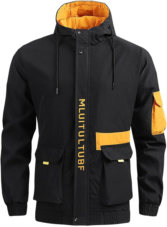 JSPOYOU Mens Hoodies Bomber Jackets Outdoors Lightweight Softshell Windpoof Windbreakers Casual Sport Coats Outwear