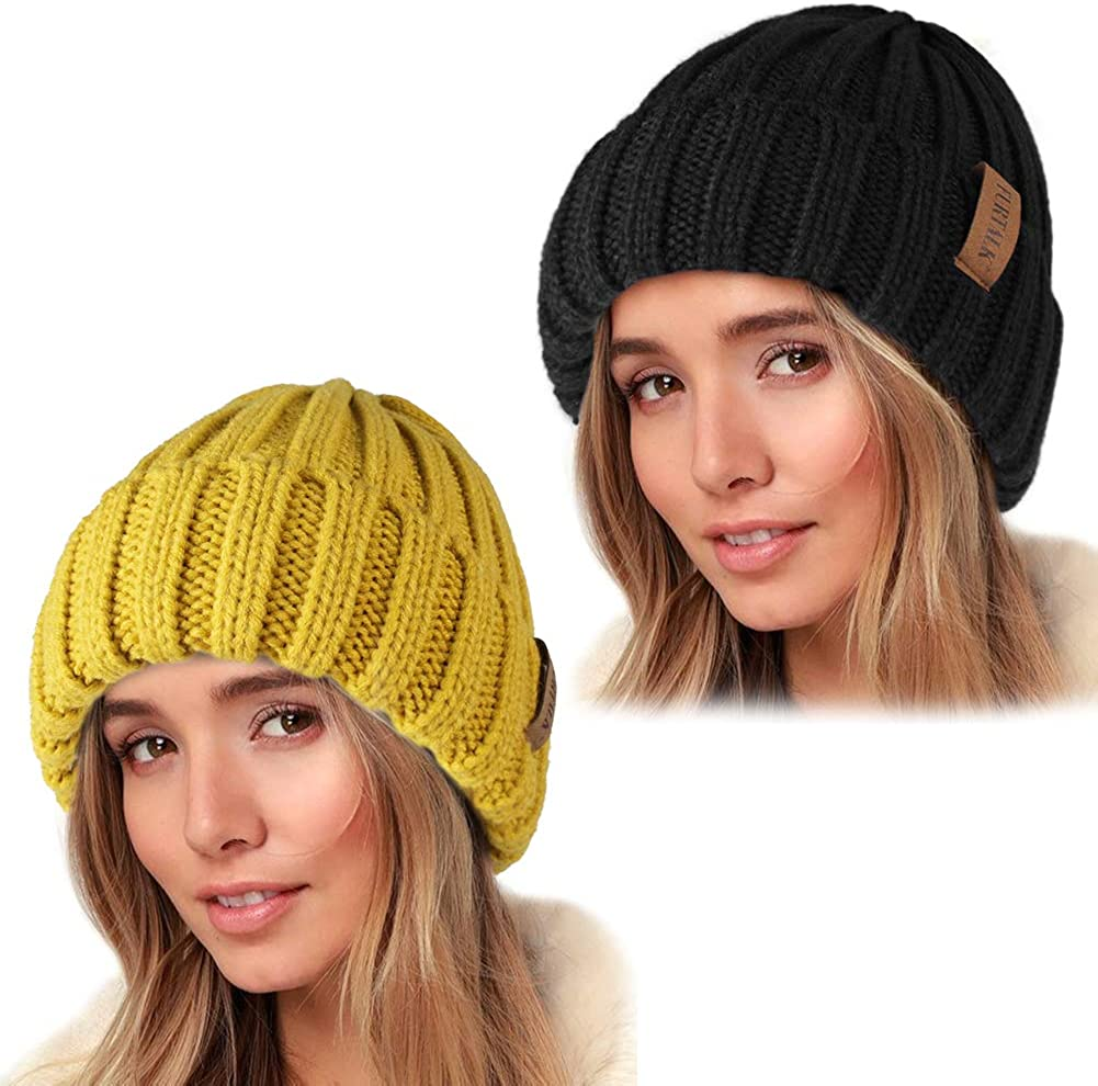FURTALK Knit Beanie cheap Hats for Women Men Layer Lined Nippon regular agency Fleece Double