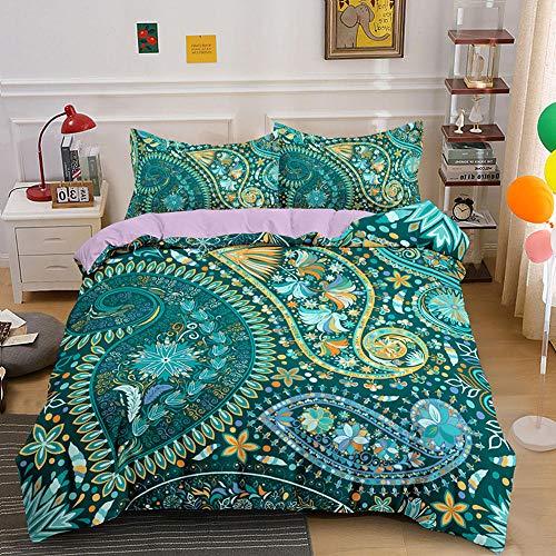 HGFHKL 3D Mandala Verde 3 Piezas Juego de Cama de Estilo Bohemio Edredón Funda de Almohada Sábana Decoración para el hogar Textil 3 Piezas