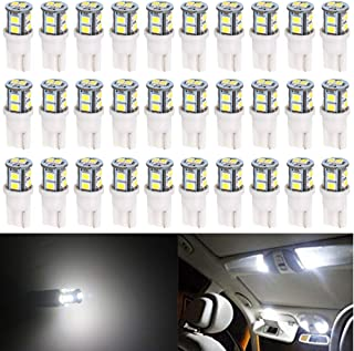 30-Pack T10 194 168 2825 175 W5W White Extremely Bright 10-SMD 2835 LED Light 12V Car Replacement Bulb for Map Dome Courte...